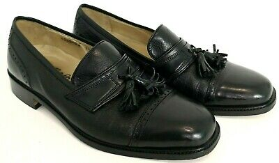 Vito Rufolo Mens Black Leather Tassel Loafers Shoes Size 8.5 Made in Italy VTG