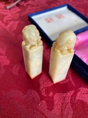 Carved Chinese Marble / Onyx Stamp Boxed