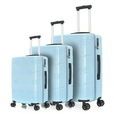 Light Blue 3 Piece Luggage Set Trolley Suitcase Spinner ABS+PC Travel
