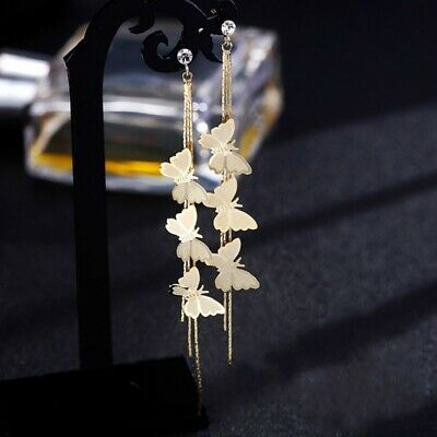 Butterfly Crystal Fashion Rhinestone Long Tassel Drop Dangle Earrings Jewelry