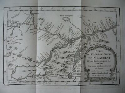 1757 - BELLIN - CANADA  Map  St LAWRENCE River  Quebec to Lake Ontario  Toronto