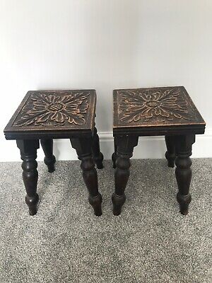 Pair Of Antique Decorative Carved Oak Stools. Vintage Plant / Lamp Stands
