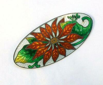 Antique Art Deco Victorian STERLING Guilloche Enamel Flower POINSETTIA Brooch