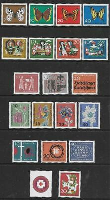 GERMANY (W) - 3 x Sets + 8 x Singles, MNH - 1962/63 Issues.