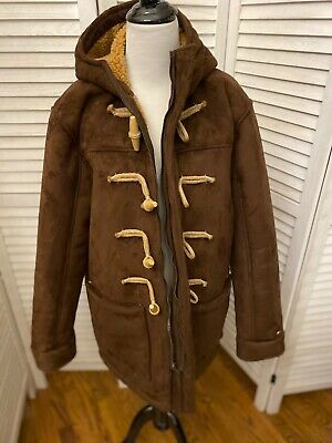 Mens Tommy Hilfiger Brown Faux Suede Large Hooded Toggle Coat EUC