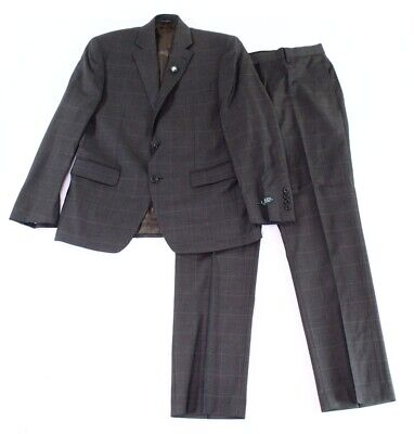 Lauren by Ralph Lauren Mens Suit Gray 42 Windowpane Two Button Wool $600 198