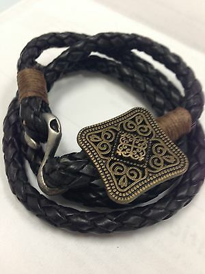 Black Genuine Leather w/ Zinc Alloy Pendant Plated Anti-Brass Bracelet/Necklace