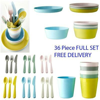 IKEA Children Kids Plastic Bowls Cups Plates Cutlery Dinner Set Dish Microwave