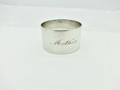 """Antique A. Stowell Sterling Silver Napkin Ring """"Mother"""" name engraving"""
