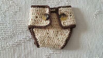 """Infant Cotton Crocheted Dog Diaper Cover, 12""""Waist, Natural, Spot, Tail,"""