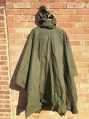 Genuine British Army Waterproof Olive Green Poncho Very good grade 2