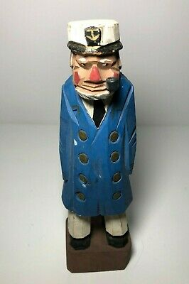 "Vintage 8"" Hand Carved & Painted Wooden Sailor Sea Ship Captain Figurine"