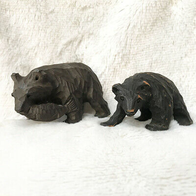 Set 2 AINU Bear Wood Carving Animals Figurine Antique Folk Art Japan Hokkaido