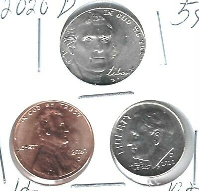 2020 Three Denver Brilliant Uncirculated  Cent, Nickel & Dime Coins!