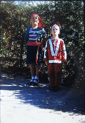 1950s Boys Brothers Pirate Costumes Vtg Color Photo Slides
