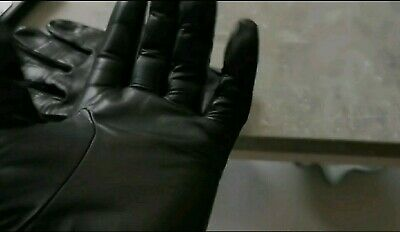 Leather gloves Mens Large Quality Police short wrist type Lamb leather