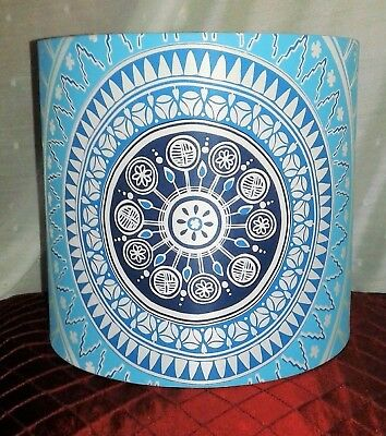 Vintage Collectible Retro Lamp Shade Blue-White Multi Color Patterns Shape-Style