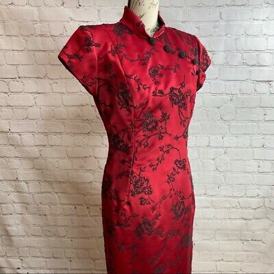 Huey Waltzer Saks Fifth Avenue Asian Style Beaded Red Dress, Fitted, Bodycon
