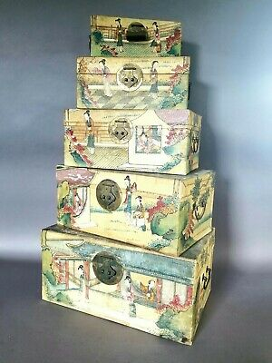Antique 19th C Chinese Qing Dynasty Hand-Painted Decorative Pigskin Box Set