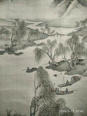 Antique Japanese Landscape scroll painting on silk, signed