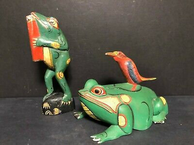 Two Old Hand Carved Bali Wood Balinese Indonesian Folk Art Frog Bird Carvings!