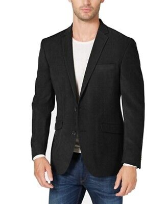 Kenneth Cole Mens Suit Jacket Black Size 40R Suede Notch Two Button $295 532