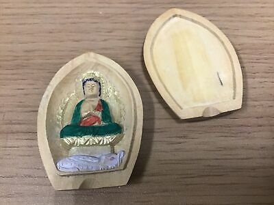 Y0988 BOX wood carving Fugen Bosatsu amulet lucky charm Japan incense container