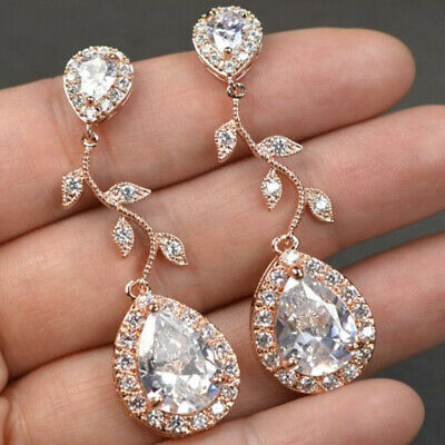 Fashion Women Crystal Rhinestone Leaves Tassel Long Earrings Wedding Jewelry