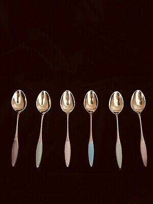 6 frigast sterling of denmark danish goldplate demitasse guilloch enamel spoons