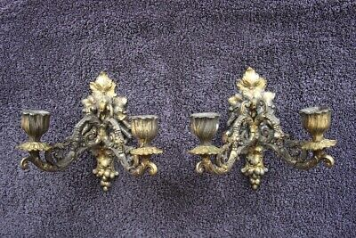 Pair antique gilt metal French Louis wall lights candle sconces original 1870