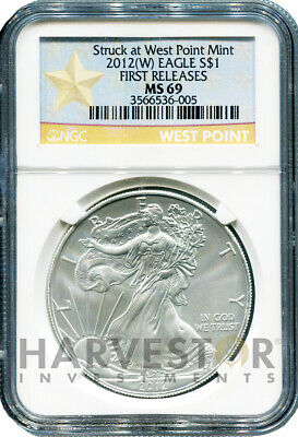 2012 (W) Silver American Eagle - Struck At West Point - Ngc Ms69 First Releases