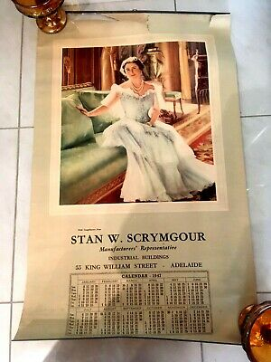 Vintage Queen Elizabeth Stan W.scrymgour Advertising Calendar 1947