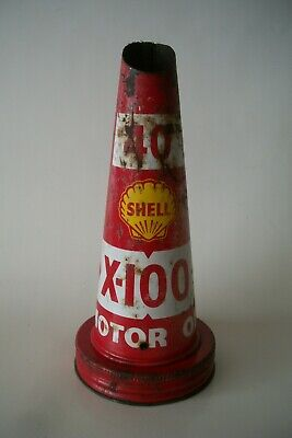 Vintage 40 Shell Oil Tin Pourer X-100 No Dents Great Condition