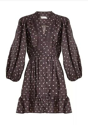 Zimmermann Prima Polka-Dot Linen Dress In Navy Multi Size 0 RRP $550