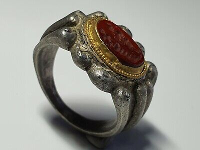 Ancient Roman Silver Ring with Intaglio 1st, 2nd  Century AD