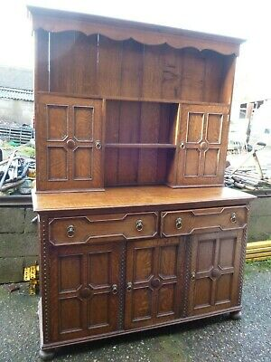 Antique Solid Oak Hand Made Arts and Crafts Style Dresser Sideboard