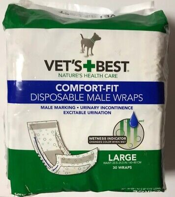 (30 Wraps) Vet's Best Comfort-Fit Disposable Male Wraps LARGE