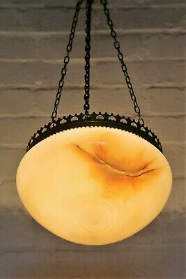 Antique Ceiling Light Art Deco 1920s Hanging Bowl Plafonnier Glass Lampshade
