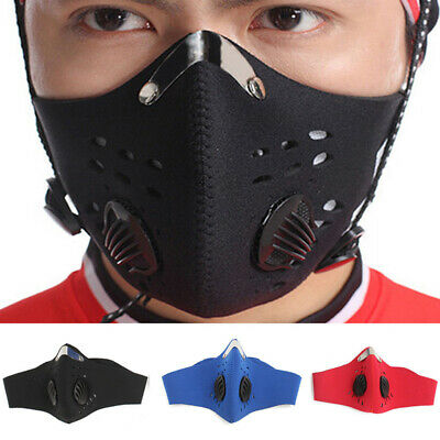 Reusable PM2.5 Anti Dust Pollution Outdoor Cycling Mouth Nose Face Filter UK