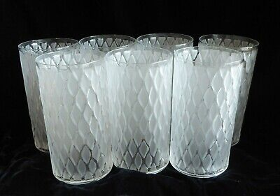 Lot Of 7 Vintage Frosted Glass Tumblers By Imperial Glass, Exc