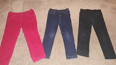 Bundle 3 Pairs Girls Jegging Jeans Cord Trousers Age 4-5 Years - Blue Black Pink