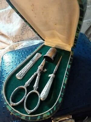 French art deco sewing etui with needle case, thimble,, scissors orig box