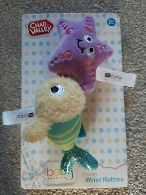 Baby Sensory Stimulation Toy Chad Valley Ocean Wrist Rattles Suitable for Age 0