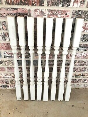 Lot of 8 Victorian Colonial Turned Wooden Spindle Balusters Posts White Salvage