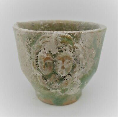 Scarce Ancient Greek Glazed Terracotta Vessel Depicting Twin Eros Faces