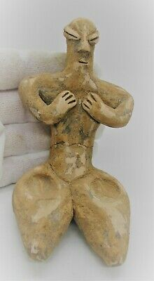 Museum Quality Ancient Neolithic Near Eastern Seated Terracotta Fertility Figure