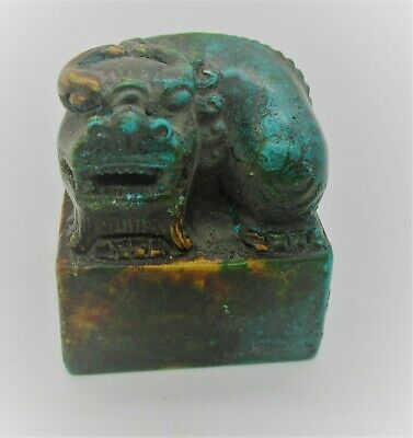 Ancient Chinese Glazed Stone Seal Stamp With Beast On Top