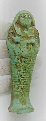 Ancient Egyptian Blue Faience Ushabti Shabti With Heiroglyphics Ca 664-332Bce