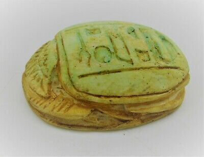 Beautiful Vintage Egyptian Glazed Faience Scarab Seal With Heiroglyphics
