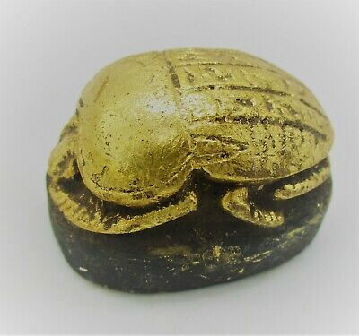 Ancient Egyptian Stone Gold Gilt Scarab With Heiroglyph